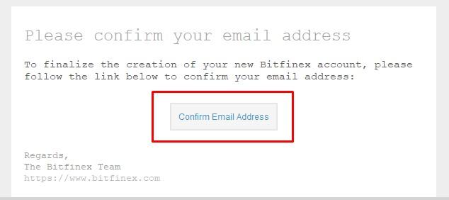 bitfinex подтверждение регистрации письмо